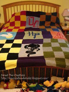 crochet blankets, harri potter, beds, knitting patterns, harry potter fandom, harry potter crochet blanket, quilts, knitted blankets, christma