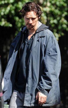 Benedict Cumberbatch filming season 3, episode 3 of Sherlock, Cardiff, August 18 2013.