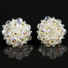 Aurora Borealis Crystal Rhinestone Cluster Earrings Vtg.