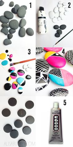 Painted rock magnets by Alisa Burke