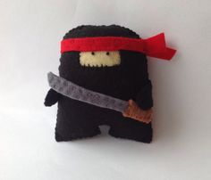 Black Ninja  Felt handmade original decoration / toy by MonsterDen on Etsy