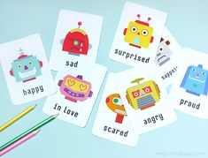 party favors, kid printables, early learning, learning english, robot, free printabl, emotional intelligence, kid parties, learning resources