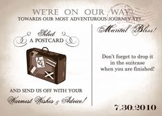 invit, idea, guest books, inspiration, guestbook sign, suitcases, postcard, cards, suitcas card
