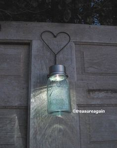 Rustic Heart Mason Jar Solar Light with Heart Hanger by treasureagain http://etsy.me/KnwRLr