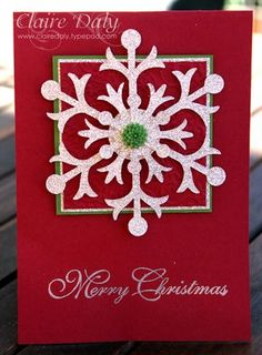 #christmascard #stampinup #snowflake #heat embossing