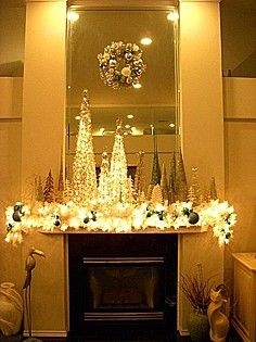 Beautiful idea for a Christmas fireplace