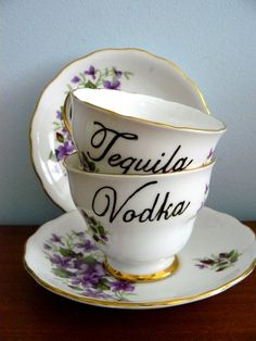 Vodka and Tequila altered teacup set by trixiedelicious on Etsy