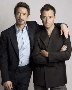 """Robert Downey Jr. and Jude Law, stars of the blockbuster """"Sherlock Holmes"""" series of movies directed by Guy Ritchie."""
