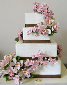 Pink and White Orchid Wedding Cake , #wedding #cake
