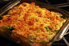 Broccoli, Chicken, Cheddar Cheese, and Rice Casserole topped with buttery crushed Ritz Crackers... Trust me your Family will Love it!!! <3