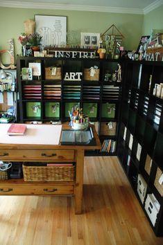 Love the black shelves. studio, room organization, dream, offic, scrapbook rooms, craftroom, shelv, art rooms, craft rooms