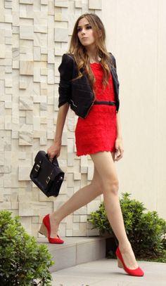 crochet dress / leather jacket