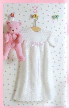 Christening Gown Dress Baby Crochet Patterns Afghans Tiny Booties Bonnet Baptism | eBay