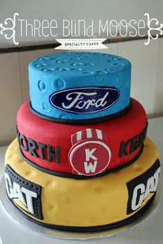 Ford, Kenworth, CAT 30th birthday cake, male, bright, simple cake by Three Blind Moose Specialty Cakes, Korumburra