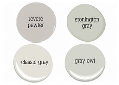 stonington gray is a great blue gray...classic gray is a neutral light gray and gray owl has a touch of green...
