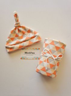 Hip Coral Triangle Baby Blanket and Newborn Hat - Swaddle Blanket - Organic Cotton Knit - Baby Hat on Etsy, $52.00
