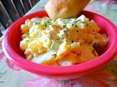 Creamy potato salad with bacon. Great Summer BBQ side dish! Secret ingredient!