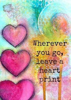 art journal, heartprint, heart print, leav, inspir