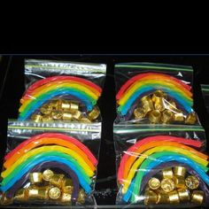 Cute St. Patrick's Day treat bags...pot of gold underneath the rainbow!