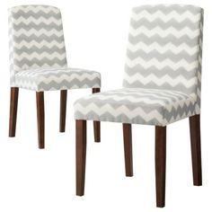 Threshold Marion Upholstered Dining Chair Grey & White Chevron - Set of 2 @Target