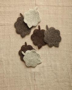 Felted Leaf Coasters crocheted in Fishermen's Wool makes a great fast-finish project.