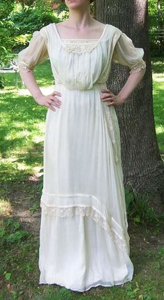 Antique Silk and Irish Lace Gibson Girl Wedding Dress