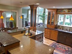 cabinets, angles, warm colors, kitchen idea, countertops, columns, kitchen design, pendant lights, open kitchens