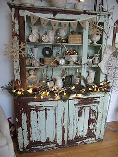 Love the distressing on this hutch