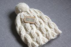 Cabled Cream Knit Pompom Hat Chunky Cream Knit by hilaryfrazier