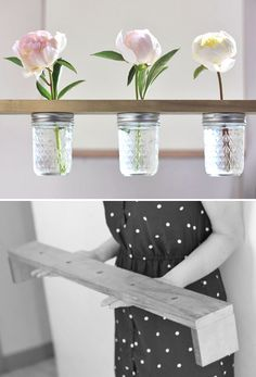 DIY mason jar flower shelf - step by step instructions: http://www.withlovely.com/diys/diy-mason-jar-flower-shelf