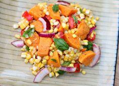 Sweet Potato, Corn, Tomato &  Basil Salad #freshbloggers