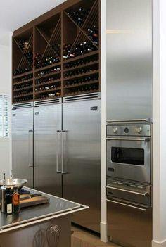 Stainless; dark wood; wine storage