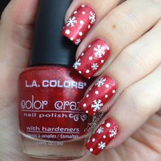 The Nailinator: Snowflakes on L.A. Colors Aztec Orange Pinned by www.SimpleNailArtTips.com