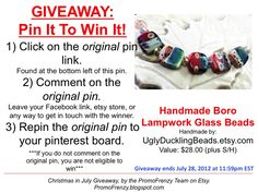 GIVEAWAY - Pin It To Win It: To Win This Item from UglyDucklingBeads.etsy.com - follow the instructions: Click on ORIGINAL pin, comment leaving a way to contact you, REPIN the ORIGINAL Pin! Contest ends 7/27/12 @ 11:59pm EST. Winner announced 7/28/12.