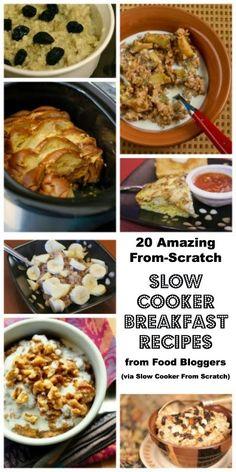 20 Amazing From-Scratch Slow Cooker Breakfast Recipes from Food Bloggers [via Slow Cooker from Scratch - SlowCookerFromScratch.com] #SlowCooker #CrockPot #Breakfast #BackToSchool