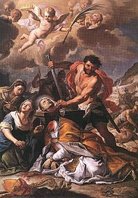 St. Januarius -Feast Day, Sept. 19. Was bishop of Benevento during the Diocletion persecution. Bishop Januarius went to visit 2 deacons & 2 two laymen in prison. He was then also imprison along with them. They were thrown to wild beasts, but the animals did not attack them, so they were beheaded. Januarius' blood is kept in Naples, as a relic. It liquifies and bubbles when exposed in the cathedral. Scientists have not been able to explain this miracle to date.