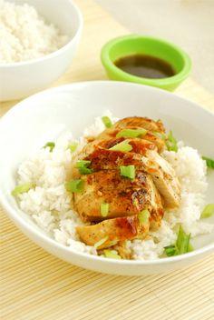 Teriyaki Chicken ... soy sauce, honey, brown sugar, garlic, ginger, apple cider vinegar, and cornstarch ; olive oil, chicken, kosher salt, black pepper, optional: sliced green onions or sesame seeds, for garnish