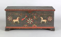 Pa. painted pine dower chest dated 1788