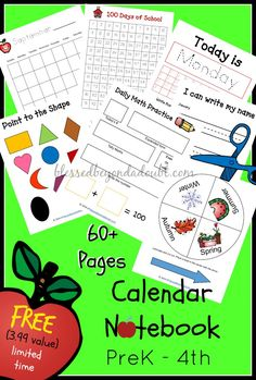 FREE homeschool or classroom calendar notebook pages!