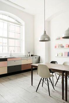 multi-colored cabinets.