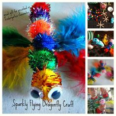 Sparkly Flying Dragonfly Craft  -EASY Preschool or Kindergarten craft-    (would make an awesome home made gift for your child to give to his/her preschool or kindergarten classmates