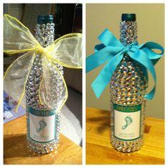 Bedazzled wine bottles