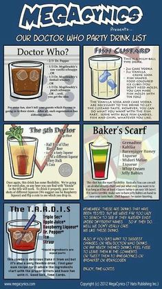 Dr. Who Party Drink List