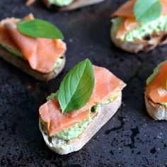 Smoked Trout and Basil Pesto Cream Cheese Crostini