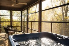 Soak in the hot tub while also taking in a bit of sunshine in the Iris Inn cabins #BnB #Wedding #Honeymoonn #Cabin #HotTub For more information, visit http://www.irisinn.com/weddings.html