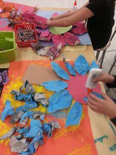 3rd Grade Art: making of newspaper flowers