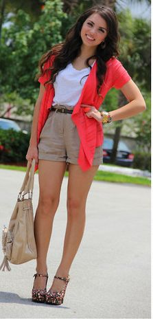 summer styles, animals, fashion, day outfits, colors, high waisted shorts, glitter shoes, animal prints, accessories