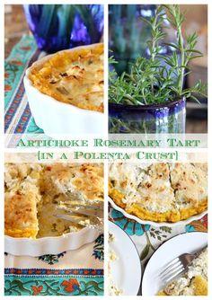 artichok, crust glutenfre, polenta crust, rosemari tart
