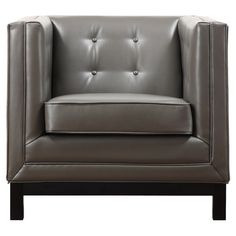gray leather accent chair