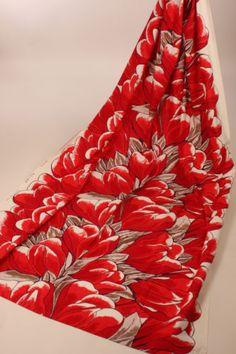 Vtg-Fin-Helen-Finland-Jaakko-Toivola-70s-Handprinted-Krookus-Modern-Fabric-Cur